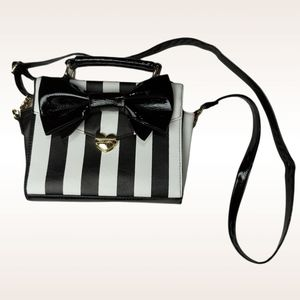 Betsey Johnson Black White Striped Crossbody Bow Purse